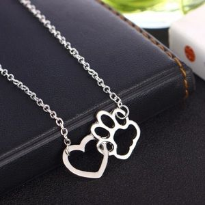 Silver Tone Heart & Paw Print Necklace